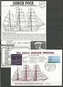 Germany 1987 Cover Kieler Woche Kiel Regatta Week Gorch Fock Ship (with Insert)