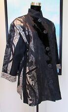 Koos Van Den Akker Black Silk Velvet Lace Collage Coat Fiber Art to Wear Sz M