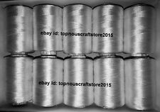 10 White Viscose Rayon Thread / Yarn for Hand & Machine Embroidery Purpose US1