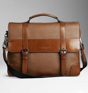 Burberry Men's Leather Briefcase Messenger Bag Tan/Brown