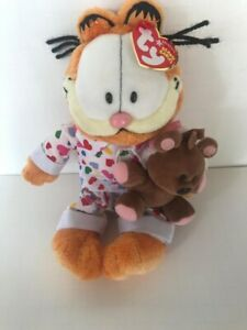 Ty Beanie Baby GOODNIGHT GARFIELD in PJs with POOKIE RETIRED * EXTREMELY RARE