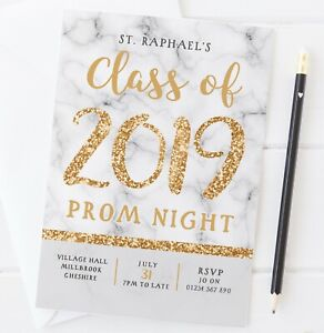 10 PERSONALISED PROM NIGHT, LEAVERS PARTY, GRADUATION INVITATIONS - GOLD MARBLE