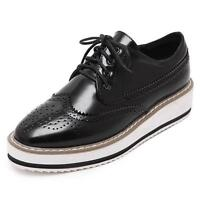 Women's Platform Wedge Heel  Lace  Up Brogue Pointy Toe Pumps Oxford Shoes