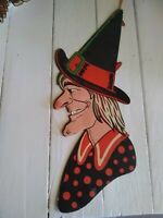 Vintage Halloween Large Witch Head Embossed Die Cut Decoration 1940's 50's H E L