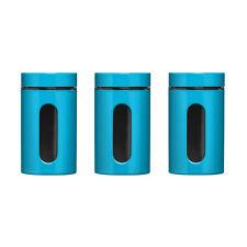 Tea Coffee Sugar Storage Jars Canisters Set Of 3 Colour Enamel On Steel
