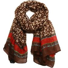 Bucasi ARIA Leopard Print Gold Chain Link Scarf in Brown and Red