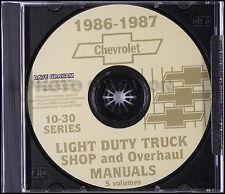 1986 Chevy Truck CD Shop Manual and Wiring Diagrams Pickup Blazer Suburban Van