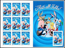 "Porky Pig ""That's All Folks"" Looney Tunes 3534 Booklet Pane 10 x 34¢ Stamps 2001"