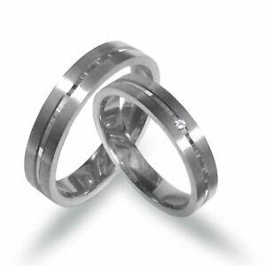 Trauringe-Eheringe in Platin 950 mit Glanzrille und Diamant  (P309)