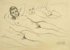OTTO SCHUBERT - Frauenakt - Studienblatt - Bleistiftzeichnung 1958