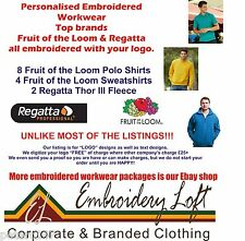 Fruit of the Loom PERSONALISED  EMBROIDERED POLO SHIRT WORKWEAR PACK F/L4