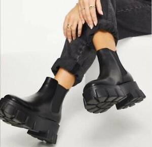 Truffle Collection faux leather chunky chelsea boots in black with exagg Size 4
