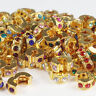 5X Clear Crystal Gold Charm Beads Clips Locks Stoppers for European Bracelet New