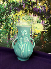 "Shawnee Iris Bud Vase Turquoise Blue Aqua Teal Pottery Double Handle 5"" Vtg USA"