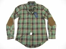 RALPH LAUREN POLO PLAID GREEN BROWN SMALL SUEDE ELBOW BUTTON DOWN SHIRT MENS NWT
