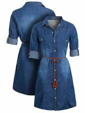 Womens Denim Shirt Dress Ladies Cotton Blue Belt Dresses Size 10 12 14 8 New