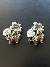 Vintage Silver Rhodium Plated Flower Clip Earrings, Unsigned