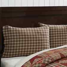 DAWSON STAR Pillow Case Set of 2 Brown/Khaki Plaid Fabric Rustic Cabin Cotton