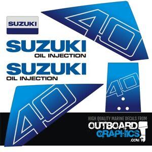 Suzuki DT40hp outboard engine decals/sticker kit (3 hole rear panel model)