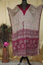 Kaftán Kimono SEDA beige-lila L handgefertigt -india 116cm Largo Pantorrilla