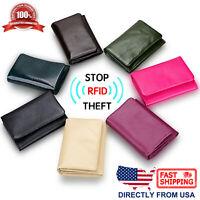 Women's RFID Blocking Genuine Full Grain Leather Zipper Pocket Mini Wallet