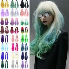 Girl Full Wig Long Straight Curly Wig Cosplay Halloween Party Costume Anime Hair