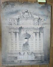ARCHITECTURE dessin au lavis étude pour la Fontaine Boileau