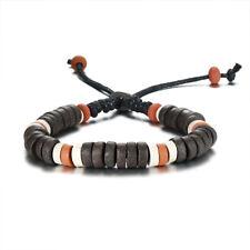 Vintage Stones Charm Bracelets Men's Size Adjustable Brown Rope Chain Wristband