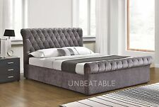 Ottoman Function Fabric Silver Velvet Bed Frame Only Double