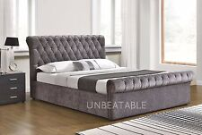 velvet chenille ottoman fabric bed frame double or king size bedroom new