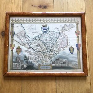 Russell Hill School Antique Victorian c.1841 Cheshire Old English Country Map