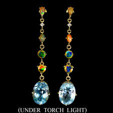 Oval Swiss Blue Topaz 14x10mm Fire Opal Cz 925 Sterling Silver Earrings