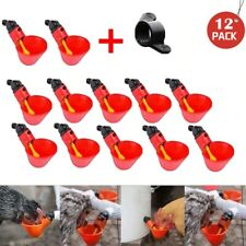 12Pcs Poultry Water Drinking Cups Plastic Poultry Chicken Hen Automatic Drinker