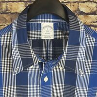 new BROOKS BROTHERS Mens Blue Plaid Button Down Shirt Large L Regent