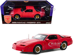 1988 PONTIAC FIREBIRD T/A GTA BRIGHT RED 1/18 DIECAST MODEL CAR GREENLIGHT 13577