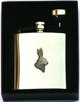 Hare's Head 6 oz Hip Flask Personalised Shooting Gift Boxed FREE ENGRAVING 171