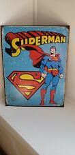 """Dc Comics Superman Metal Tin Sign Distressed Look 12-1/2"""" x 16"""""""