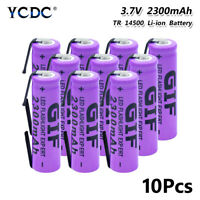 10pcs high quality 3.7v 2300mah 14500 battery rechargeable batteries with tabs