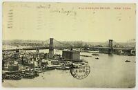 Postcard New York NY Williamsburg Bridge Bay Aerial Bird's Eye View 1910's 1911