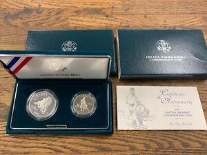 1995 Civil War Battlefield PROOF US Mint 2 Coin Silver Dollar Set Coins Box COA