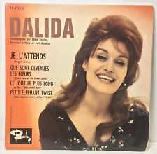 """Vintage  Vinyl  Record ~ DALIDA Je L'Attends ~ 7""""  45  EP  Picture Sleeve   FREE"""