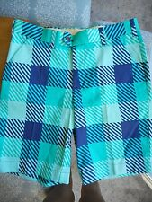 NWOT Loudmouth Golf Plaid Blue and Green Men's Shorts Size 32
