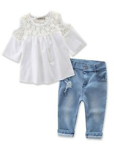 Sweet Girl Lace Design Off Shoulder 3/4 Sleeve Blouses and Jeans 2 pcs Outf