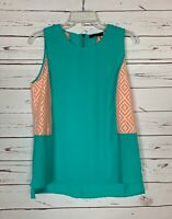 THML Anthropologie Women's S Small Turquoise Sleeveless Spring Top Blouse Tank
