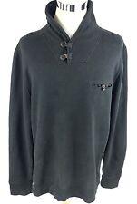 Billy Reid Button Shawl Pullover Sweater Size XXL 2XL Black Cotton Long Sleeve