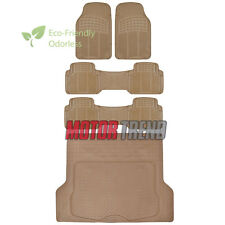 5pc Rubber Floor Mat Heavy Duty Van Beige Heavy Duty BPA Free Durable Liner