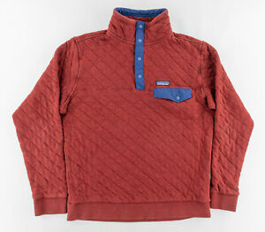 Patagonia Mens Medium Quilted T Snap Pullover Organic Cotton Burgundy Red Blue