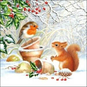 4 x Single Paper Table Napkin/Decoupage/Decopatch/Christmas/Robin and Squirrel
