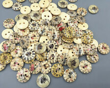 Wooden Buttons Mixed clock pattern Fit Sewing Scrapbooking 2-holes 15mm