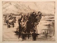 JJ LEMORDANT gravure eau forte etching marine bretagne 1913 breton dans le vent